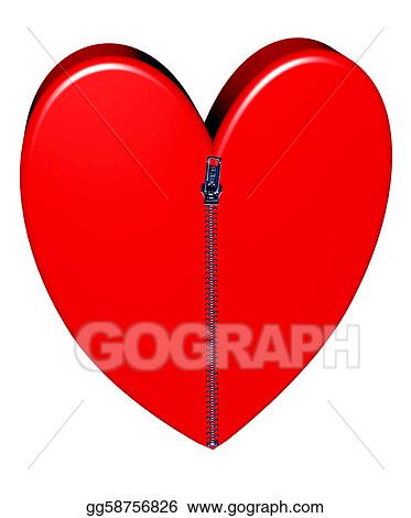 Drawing - Red heart closed with pulled up zipper. Clipart ...