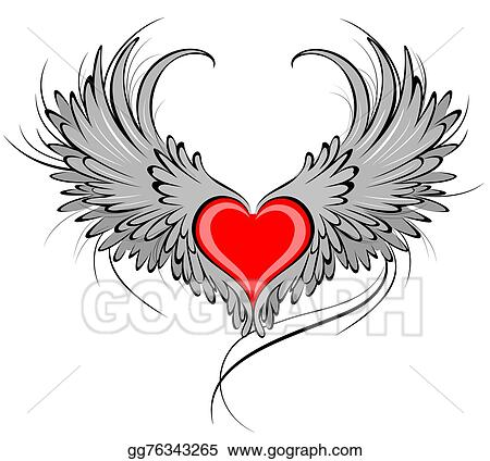 Heart With Angel Wings Clip Art Black And White 6891 ...