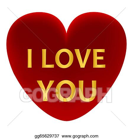 Clipart - Red heart with the words I love you. Stock ...