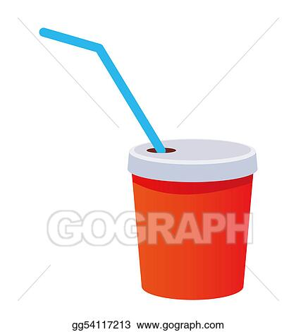 Stock Illustration - Red plastic cup with a straw. Clipart Drawing ...