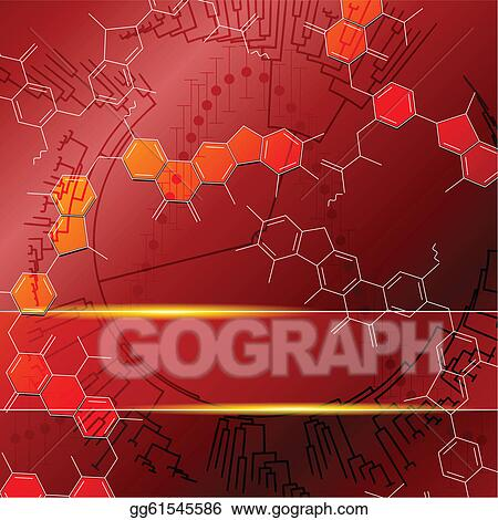 Stock illustration red background with molecules graphics are grouped
