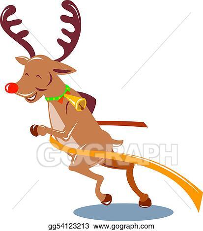 Stock Illustration - Reindeer crossing the finish line. Clip Art ...