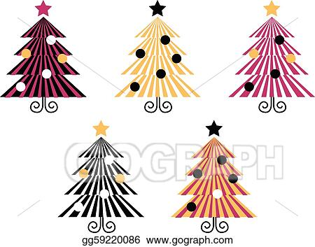 Retro Christmas Trees collection isolate on white