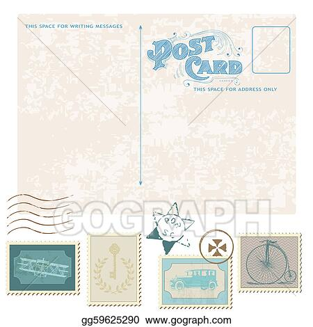 Vector Illustration Retro Postcard And Postage Stamps