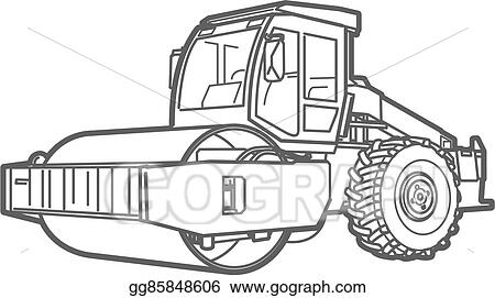 Vector Illustration - Road roller outline. asphal paver. EPS ...
