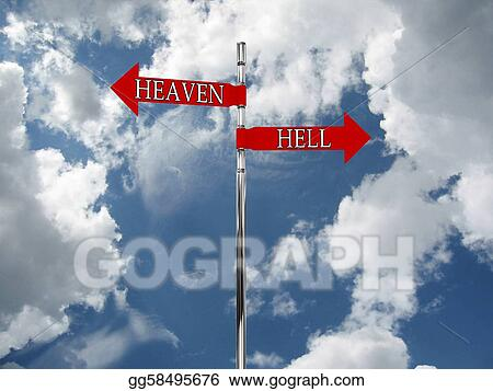 Road sign in the heaven and hell against the sky clipart gg58495676