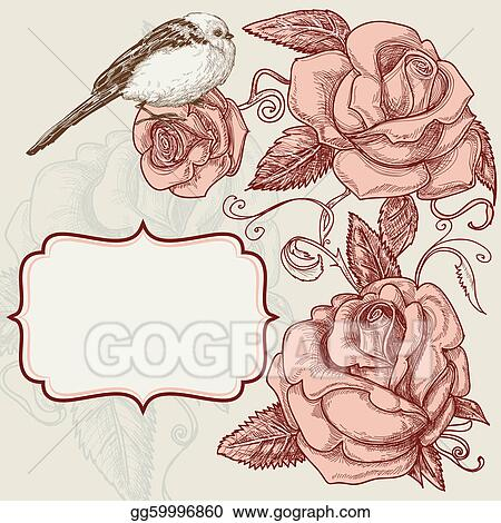 Roses and lovely bird romantic background