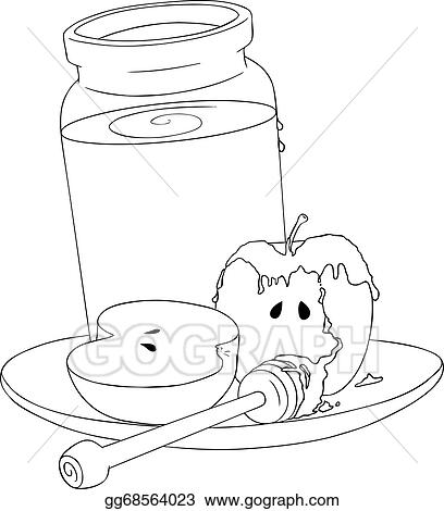 rosh hashanah honey jar and apples coloring page