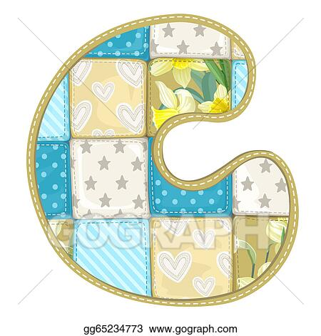 Roundish Font From Quilted From Multi Colored A Blanket Rag Letter C Gg65234773 on Letter Gg Craft
