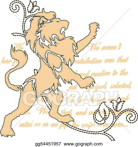 royal lion with scroll ornate emblem