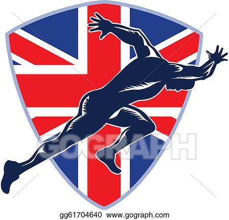 Vector Clipart - Runner sprinter start british flag shield. Vector ...