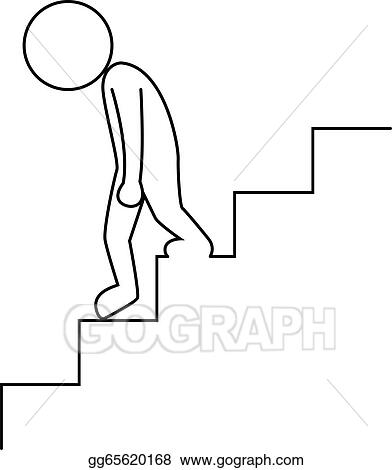 Vector Art - Sad businessman walking downstairs . Clipart ...