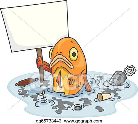 Vector Clipart Sad Fish In Polluted Water With Blank