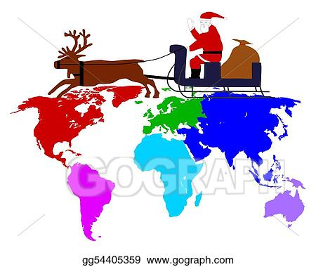 Santa Claus on his reindeer sleigh high above the six continents