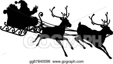 Vector Art - Santa sleigh silhouette. Clipart Drawing gg67840096 ...