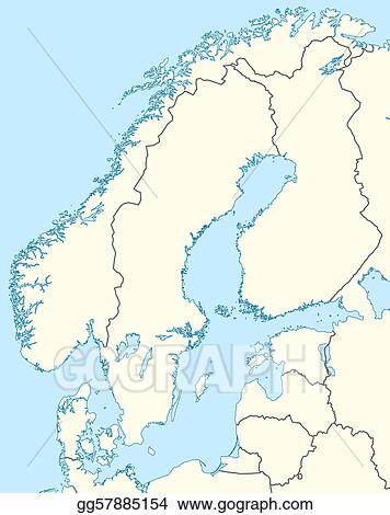 Drawing - Scandinavia map. Clipart Drawing gg57885154 - GoGraph