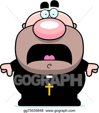 Vector Art - Scared cartoon priest. Clipart Drawing gg73535848 ...