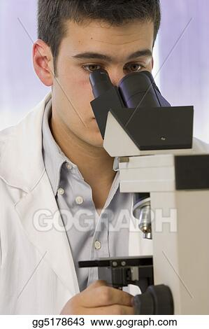 Scientist using a microscope, chemistry related or medical design