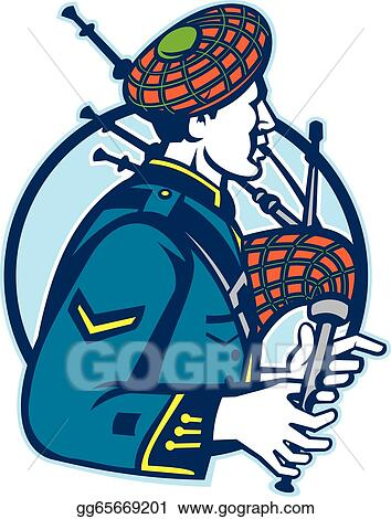 scotsman bagpiper playing bagpipes