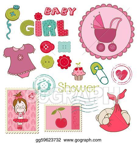 baby girl drawings clip art vector art scrapbook baby shower girl
