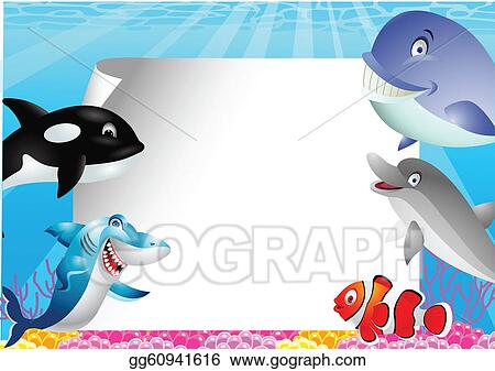 Sea life cartoon with blank sign