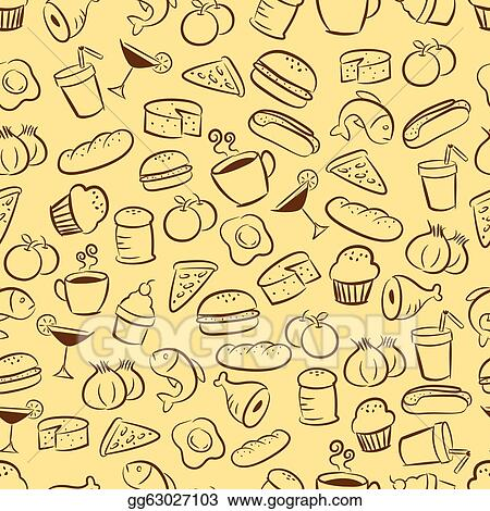 Illustration seamless food and drink background clip art gg63027103