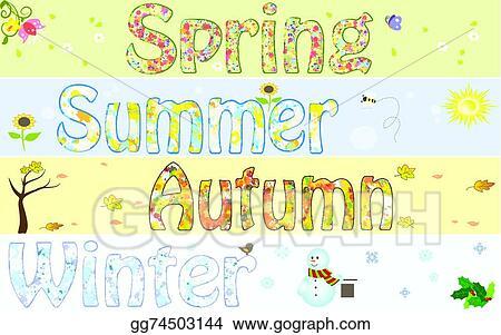 Clip Art Vector - Season year winter spring summer autumn fall art ...