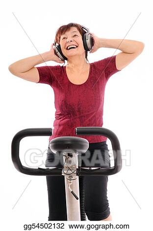 Senior spinning woman listening music