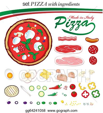 ... set italian pizza with ingredients. EPS Clipart gg64241058 - GoGraph