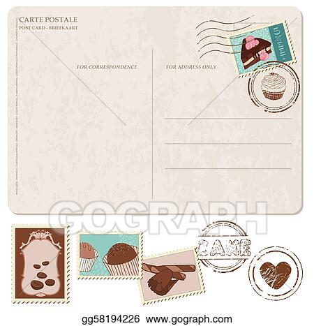 Vector Illustration Set Of Cupcakes On Old Postcard