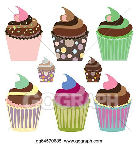 Clip Art Set Of Cute Cupcakes Stock Illustration Gg64570685