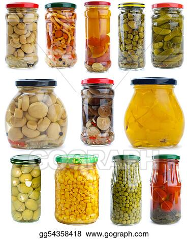 Set of different berries, mushrooms and vegetables conserved in glass jars