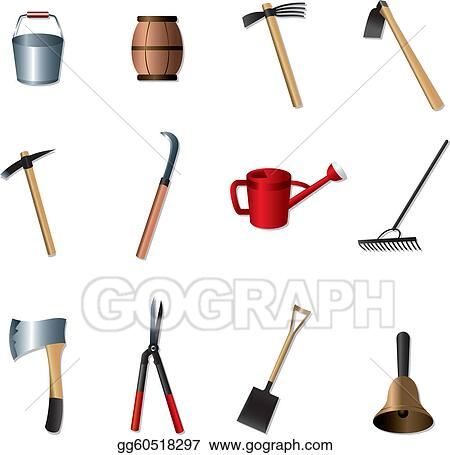 vector art set of gardening tools clipart drawing