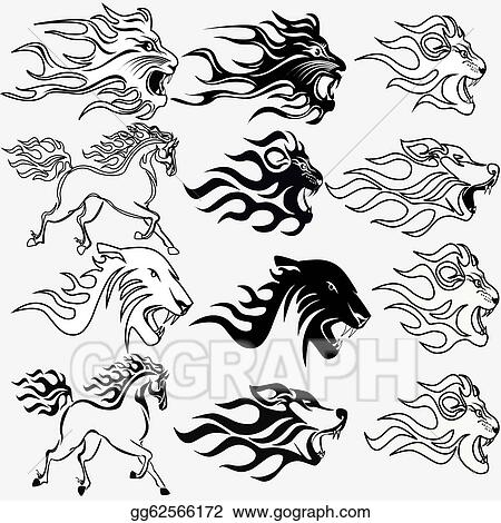 Vector Clipart - set of graphic tattoos firehorse lion wolf and ...