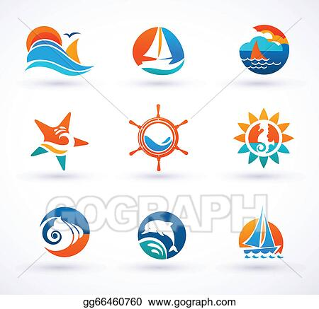 Set of sea and nautical icons signs and symbols stock illustration