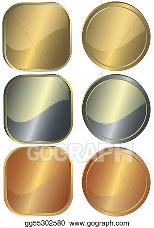 Set of round and square metal counters