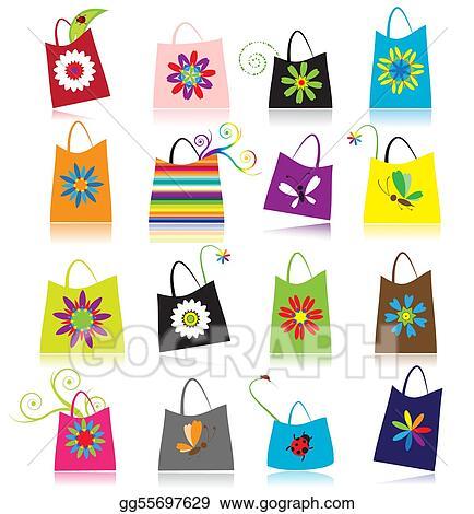 Stock illustration set of shopping bags clip art gg55697629