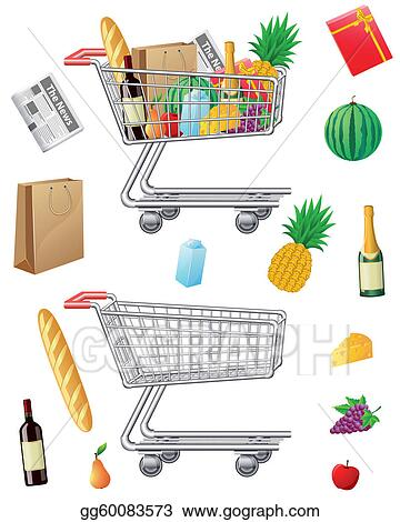 shopping cart with purchases and fo