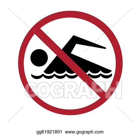 stock illustration sign no swimming clip art