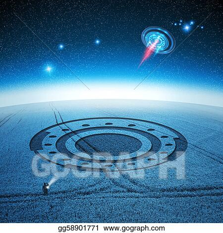 Clipart signs and wonders ufo leaves a crop circle in a farmers