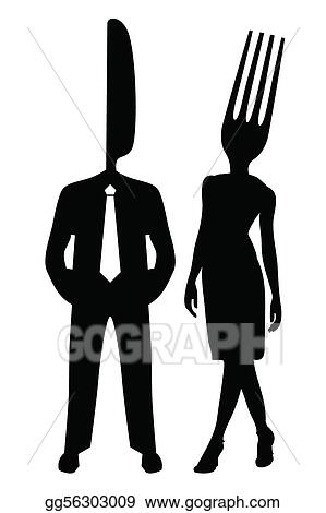 Clip art vector illustration of a silhouette couple with the head of