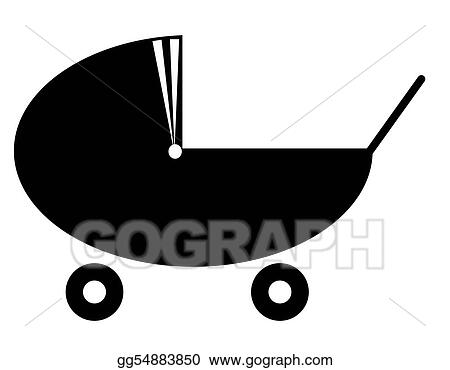 Stock Illustration - Silhouette of a baby pram or stroller ...
