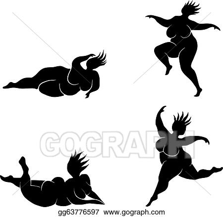 Silhouette of fat women