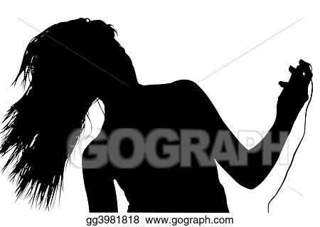 White with clipping path woman dancing with digital music player