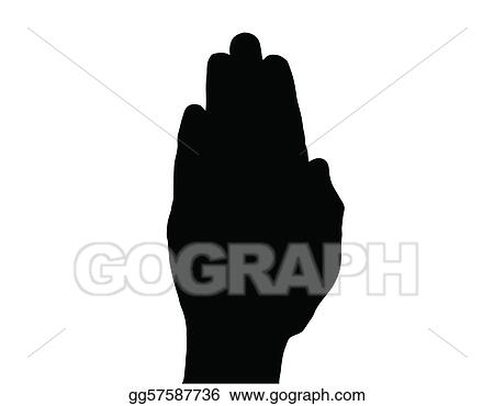 Silhouette Vector Stop Hand on White