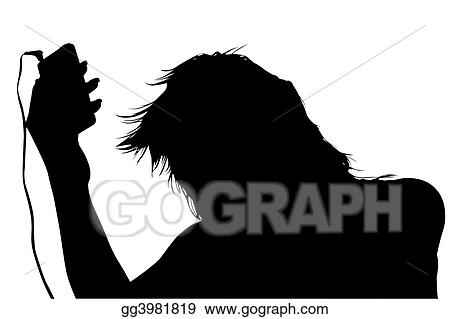 Silhouette with clipping path of girl with digital music player