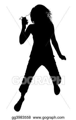 Silhouette with clipping path of girl with video music player