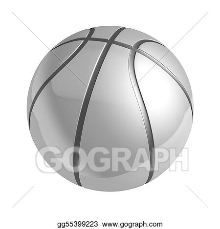 Silver shiny basketball with reflection