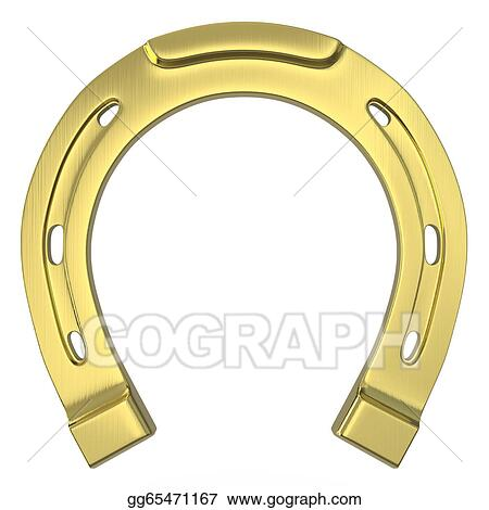 Single scratched golden horseshoe clipart drawing gg65471167