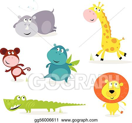 Six cute safari animals - giraffe,